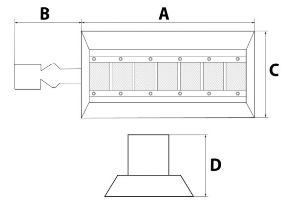 Ceramic infrared heaters dimensions